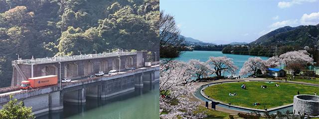 国道413号線(左)、津久井湖城山公園・水の苑地(右)